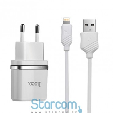 Toalaadija / USB Adapter HOCO C12 + Lightning juhe iPhone 5/6/7/8 (5V 2,4A) , Valge