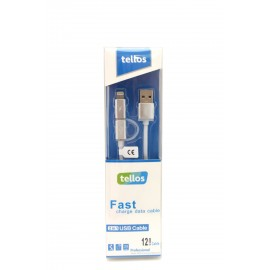 "USB cable ""Tellos"" TPE 2in1 ""microUSB""-""Lightning"" silver, 1.2m"