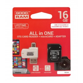 Memory card GOODRAM MicroSD 16Gb (class 10) + SD adapter + OTG cardreader