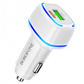 Car charger Borofone BZ14A PD20W+QC3.0 whit 2 USB connectors (Type-C to Lightning) white