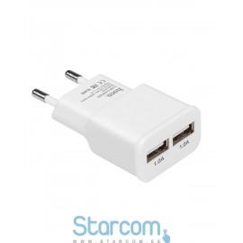USB Adapter HOCO UH202 Smart Dual (5V 2.1A) , Valge