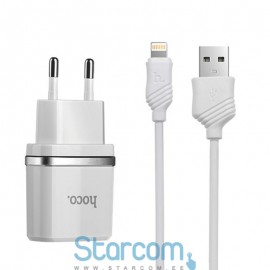 Toalaadija / USB Adapter HOCO C12 + Lightning juhe iPhone 5/6/7/8 (5V 2,4A) , Valge
